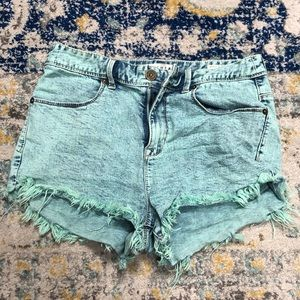 Bullhead Mint Acid Wash Jean Shorts